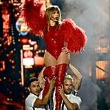 Jennifer Lopez danced throughout her performance.