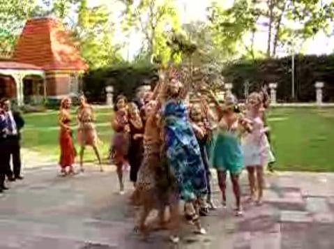 Woman Falls Catching Wedding Bouquet