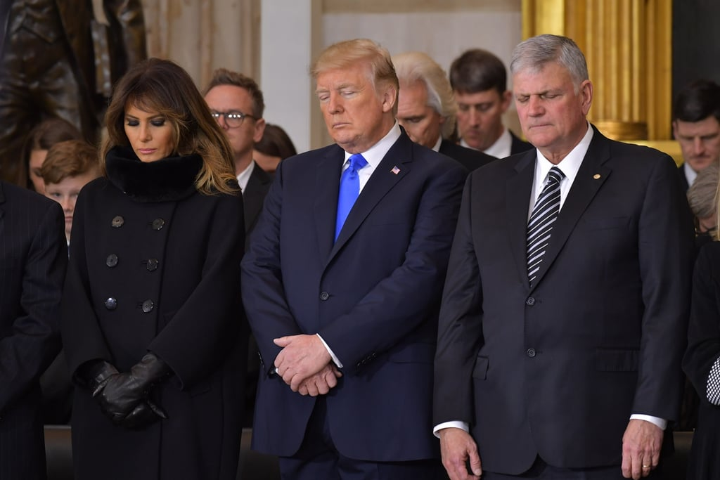Melania Trump's Black Coat and Gloves at Memorial Service