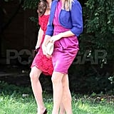 Kate Middleton, Duchess of Cambridge, wears red to a wedding.