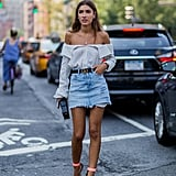 Style It With an Off-the-Shoulder Blouse and Colorful Heels