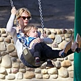 January Jones hit up a park in LA on Wednesday with her son, Xander.