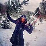 Smizing with a handsaw, Tyra Banks cut down her own mini Christmas tree. Source: Instagram user tyrabanks