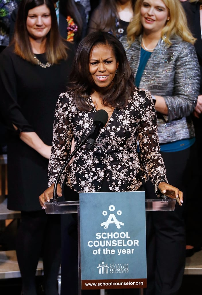 Michelle Obama Wearing Black Sheer Rodarte Blouse 2018