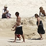 Shirtless Gavin Rossdale, bikini-clad Gwen Stefani, Kingston Rossdale, and Zuma Rossdale at the beach in Mexico.