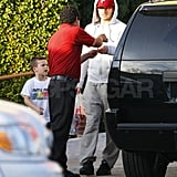 David and Cruz Beckham out in LA.