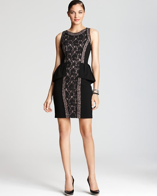 Between the fitted silhouette and lace paneling this BCBGMAXAZRIA Peplum Lilou Lace Dress ($348) makes a pretty sexy party-dress option.