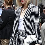 Joanna Hillman suits up in smart stripes.