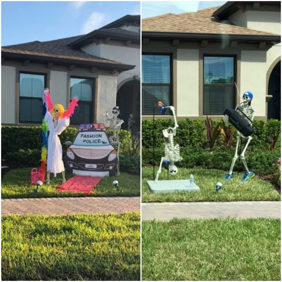 Family's Funny Skeleton Decorations For Halloween