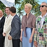 Tilda Swinton, Edward Norton, Bruce Willis, Bill Murray, and Wes Anderson at the Moonrise Kingdom photocall at the Cannes Film Festival.