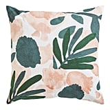 Embroidered Modern Floral Blush and Brown Pillow