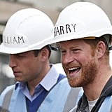 William and Harry wore personalised hard hats while tour a building site in 2015.