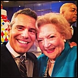 "Bravo's Andy Cohen cozied up with his ""new girlfriend"" and one of America's favorite funny ladies, Betty White, while backstage at Katie Couric's talk show.  Source: Instagram user bravoandy"
