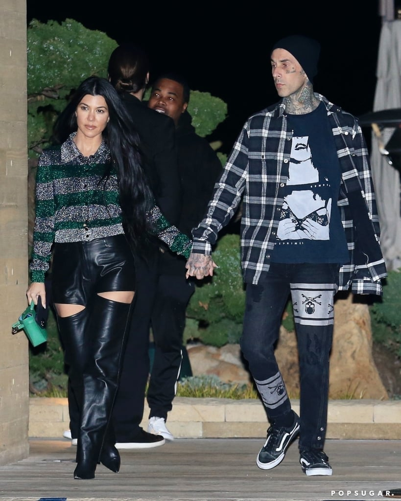"""Kourtney Kardashian and Travis Barker have been friends for years, and it was only recently that their relationship turned romantic. The 41-year-old Keeping Up With the Kardashians star casually confirmed her romance with the 45-year-old Blink-182 drummer in February with a sweet photo of them holding hands. Since then, the couple seems to be more open to giving us glimpses of their relationship, posting photos of their love notes on social media and showing PDA during their date nights.  In an interview with Drew Barrymore earlier this month, Travis called Kourtney a great mom and friend and said it's much easier for him to date someone with children because they understand what that's like. """"It just comes natural,"""" he admitted. Kourtney has three kids with ex Scott Disick — daughter Penelope, 8, and sons Mason, 11, and Reign, 6 — while Travis shares stepdaughter Atiana, 21, daughter Alabama, 15, and son Landon, 17, with his ex-wife, Shanna Moakler. As Kourtney and Travis's romance continues to heat up, take a look at all the cute moments they've shared so far.      Related:                                                                                                           Kourtney Kardashian's Dating History May Be Short, but It's Full of Good-Looking Men"""