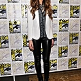 Kate Beckinsale paired black leather leggings with a cool monochromatic palette on top.