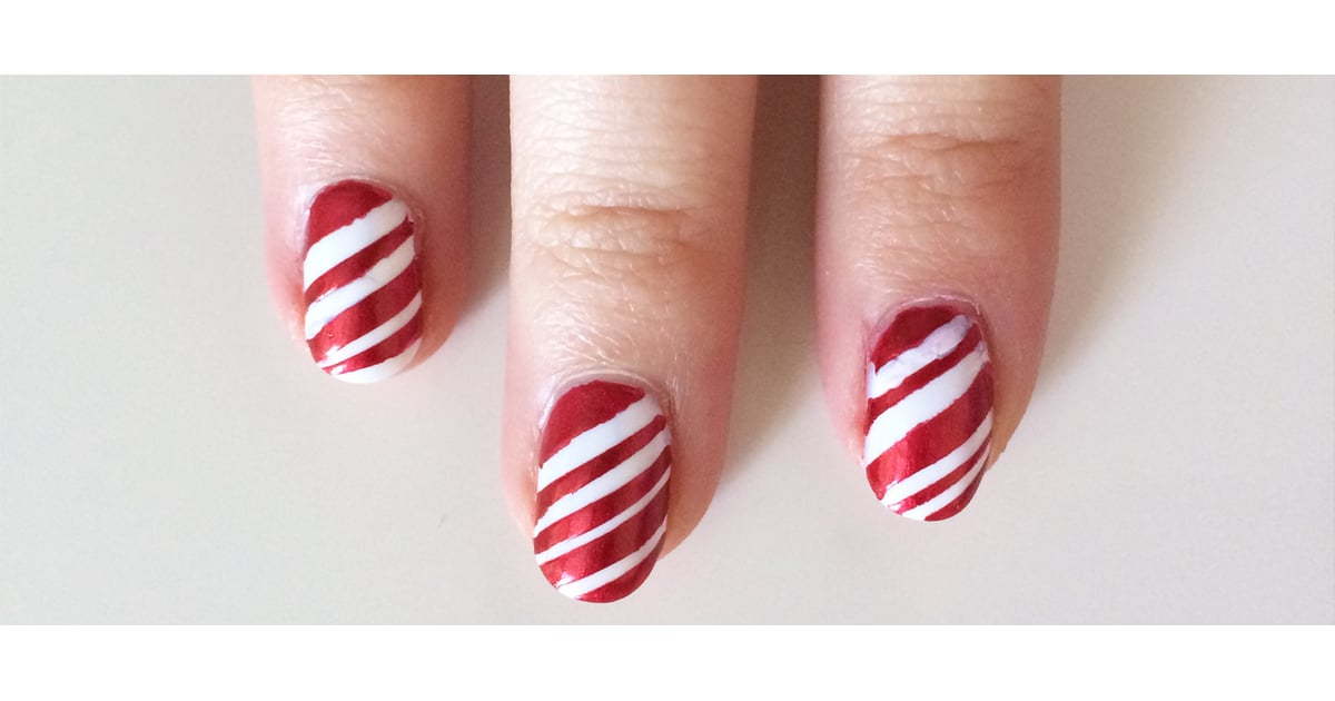 Candy Cane Nail Art Tutorial | POPSUGAR Beauty