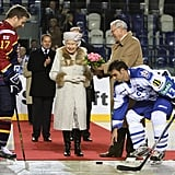 Queen Elizabeth II takes in a Slovakian hockey game in 2008