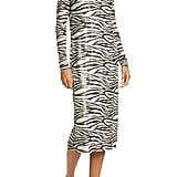 Staud Brae Tiger Stripe Long-Sleeve Midi Dress