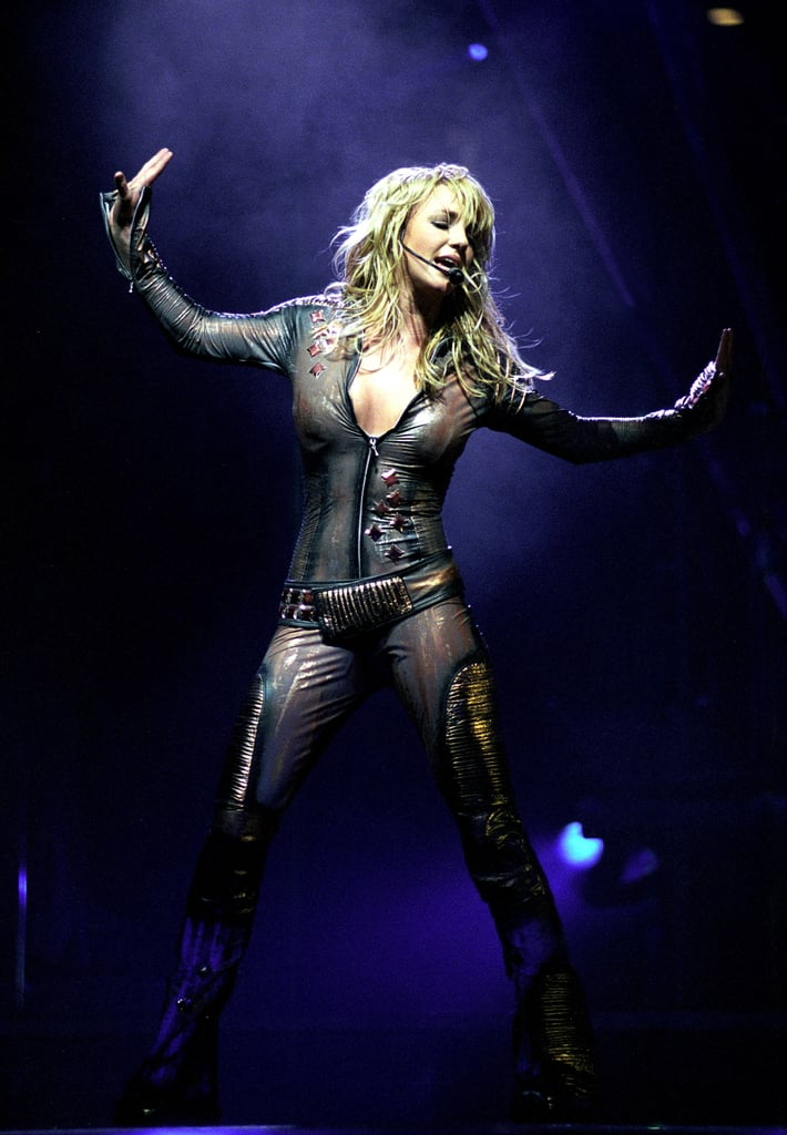 Britney Spears wore a bodysuit in front of a NY crowd in November 2001.