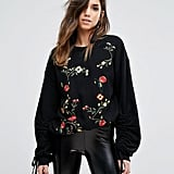 Miss Selfridge Rose Embroidered Sweatshirt