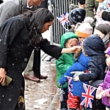 January: Meghan and Harry braved the snow to meet with kids during their visit to Bristol, England.