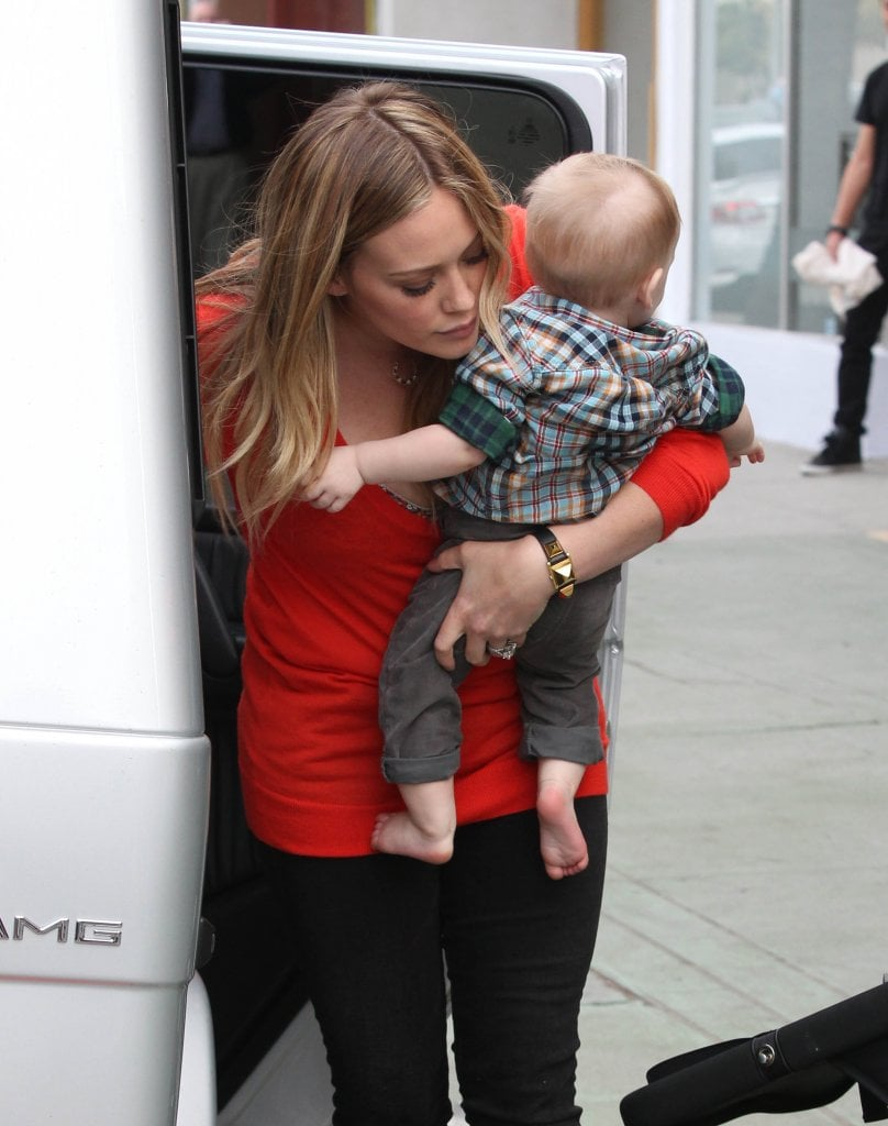 Hilary Duff held tight to her little guy.