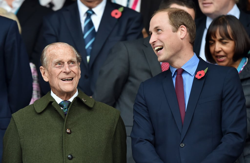Prince William shared a few laughs with Prince Philip at the Rugby World Cup in October 2015.