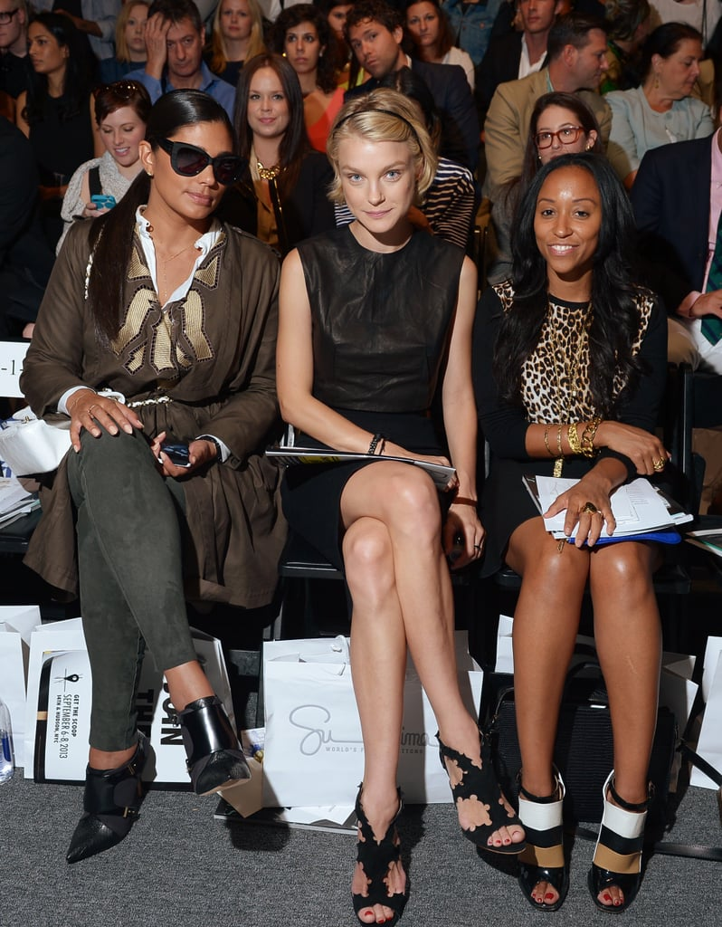 Rachel Roy and Jessica Stam took to the front row at Supima. Rachel bundled up in layers, while Jessica kept it sleek in a black leather dress and matching sandals.