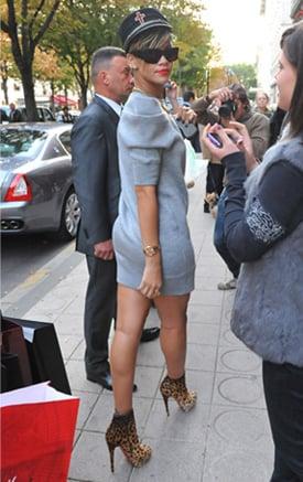 Photos of Rihanna in Paris in Animal Print Christian Louboutin Boots