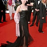 At the 2000 SAG Awards, wearing a sheer black gown with spaghetti straps.