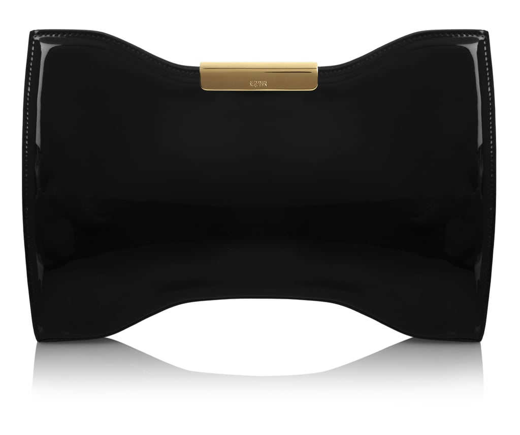 Alexander McQueen Black Patent-Leather Clutch