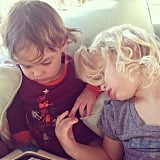 Maxwell Johnson had a little iPad date with a friend. Source: Instagram user jessicasimpson