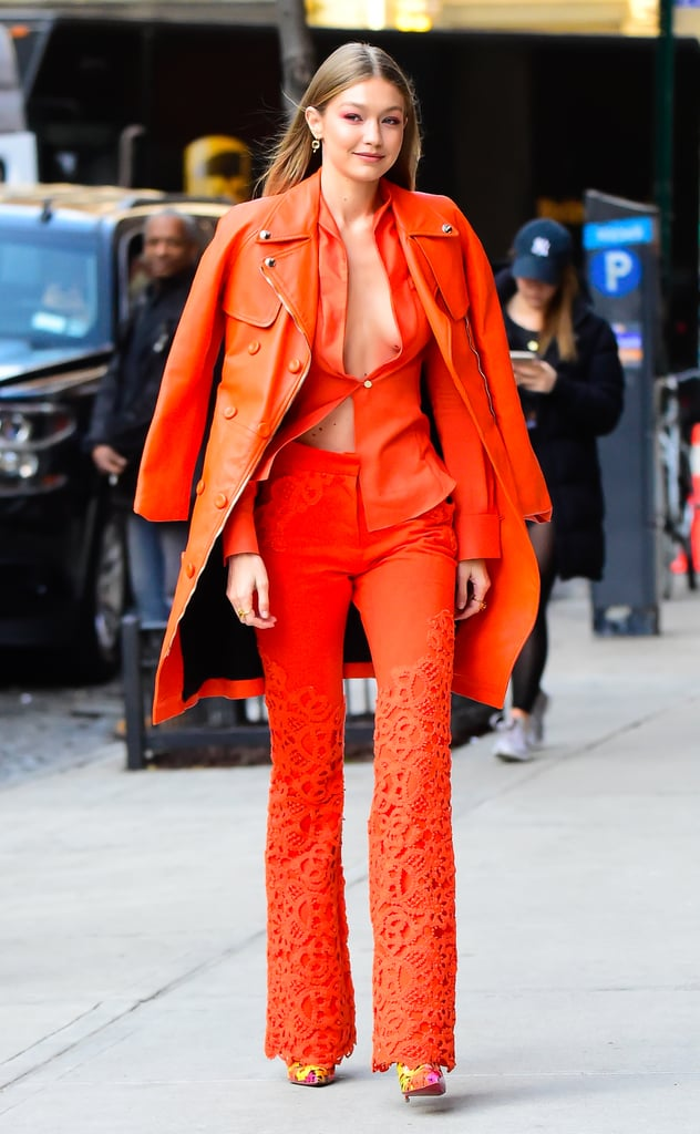 Gigi Hadid's Orange Suit 2018
