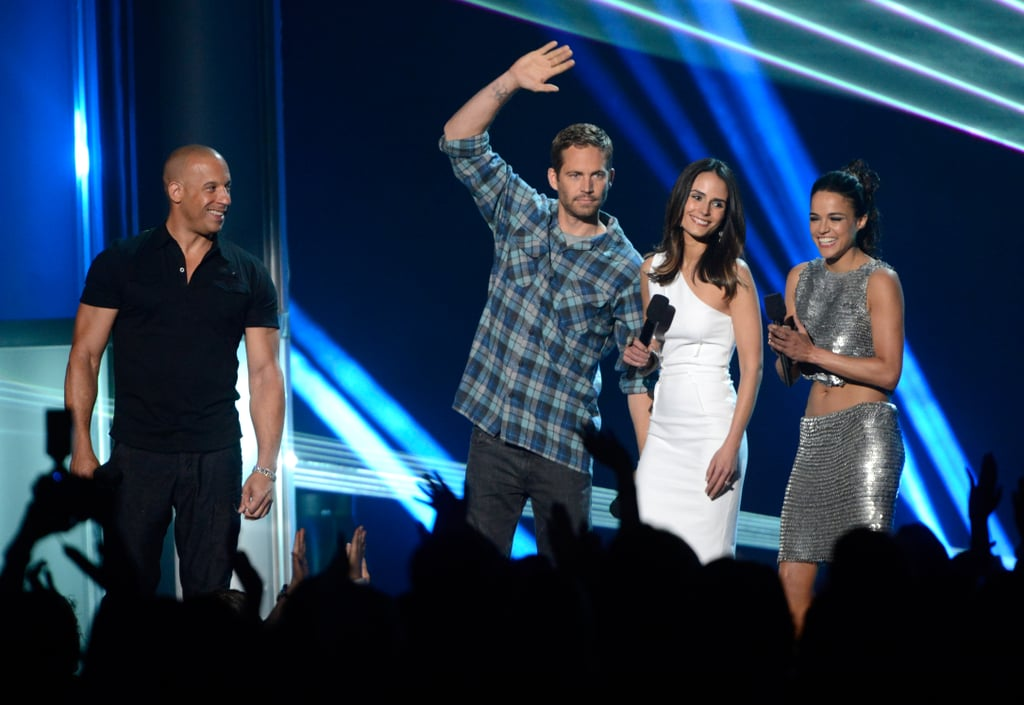 Paul Walker attended the MTV Movie Awards with Vin Diesel, Michelle Rodriguez and Jordana Brewster in April 2013.