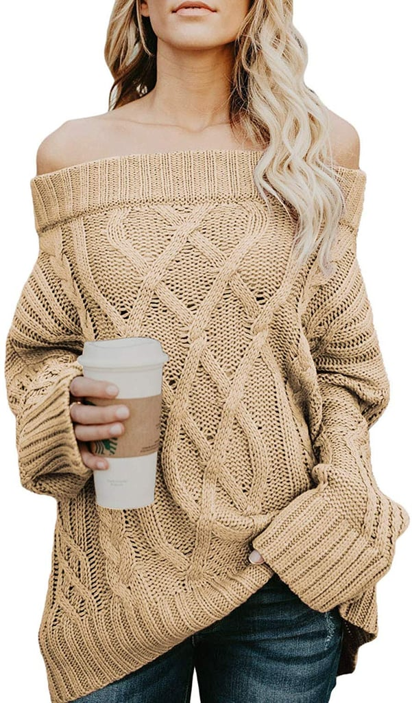 Astylish Knitted Off-the-Shoulder Oversized Sweater in Tan
