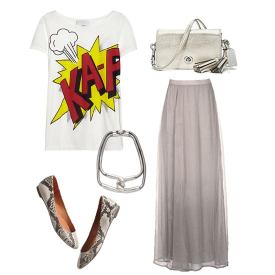 For an effortlessly ethereal look, try a flowy neutral-toned maxi skirt. It gives the ensemble movement, while the snakeskin flats and bold graphics on the tee ensure that there's just enough stylish attitude to make a statement, too. Get the look:   3.1 Phillip Lim Printed Cotton and Modal-Blend Jersey T-Shirt ($175)  Chan Luu Chiffon Dip-Dyed Maxi Skirt ($284)  Madewell Sidewalk Skimmer in Python Print ($125)  Coach Legacy Metallic Leather Penny Shoulder Purse ($228)  Giles & Brother Cortina Snake Chain Necklace ($220)