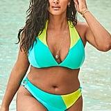 Swimsuits For All Romancer Turquoise Colorblock Triangle Bikini