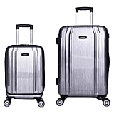 InUSA SouthWorld 2-Piece Hardside Spinner Luggage Set in Silver Brush