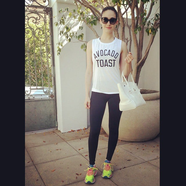 Emmy Rossum started the day off right with some avocado toast. If you love this shirt, you can get it here.