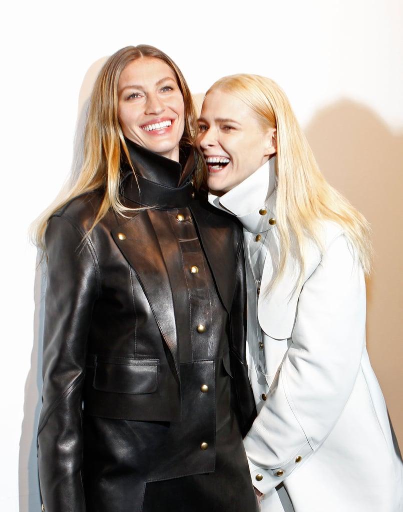 Gisele Bundchen and Carmen Kass backstage at Alexander Wang.