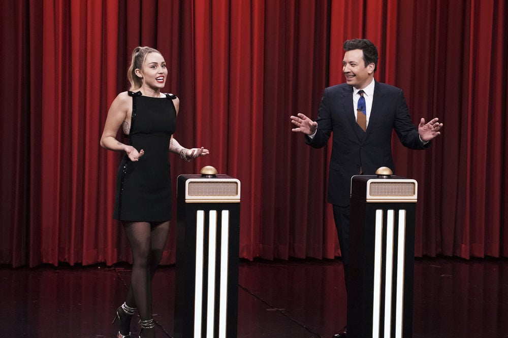 Miley Cyrus Wearing a Black Dress on The Tonight Show 2018