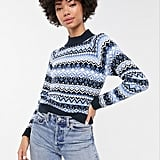 Monki Fairisle Print High-Neck Jumper in Blue
