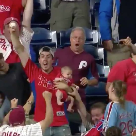 Dad Catches Home Run Baseball While Holding Baby