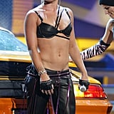 Pink wore a daring leather ensemble to perform at the 2003 MTV Movie Awards.