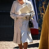 Queen Elizabeth smiled after the special service for her coronation anniversary.
