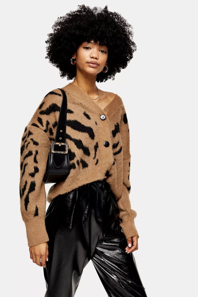 Topshop Camel and Black Animal Marking Knitted Cardigan