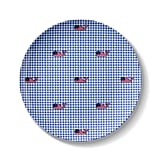 Flag Whale and Gingham Melamine Salad Plate