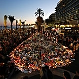 July 2017: People pay their respects on the Promenade des Anglais in Nice, after the Bastille Day attack saw 84 people killed.