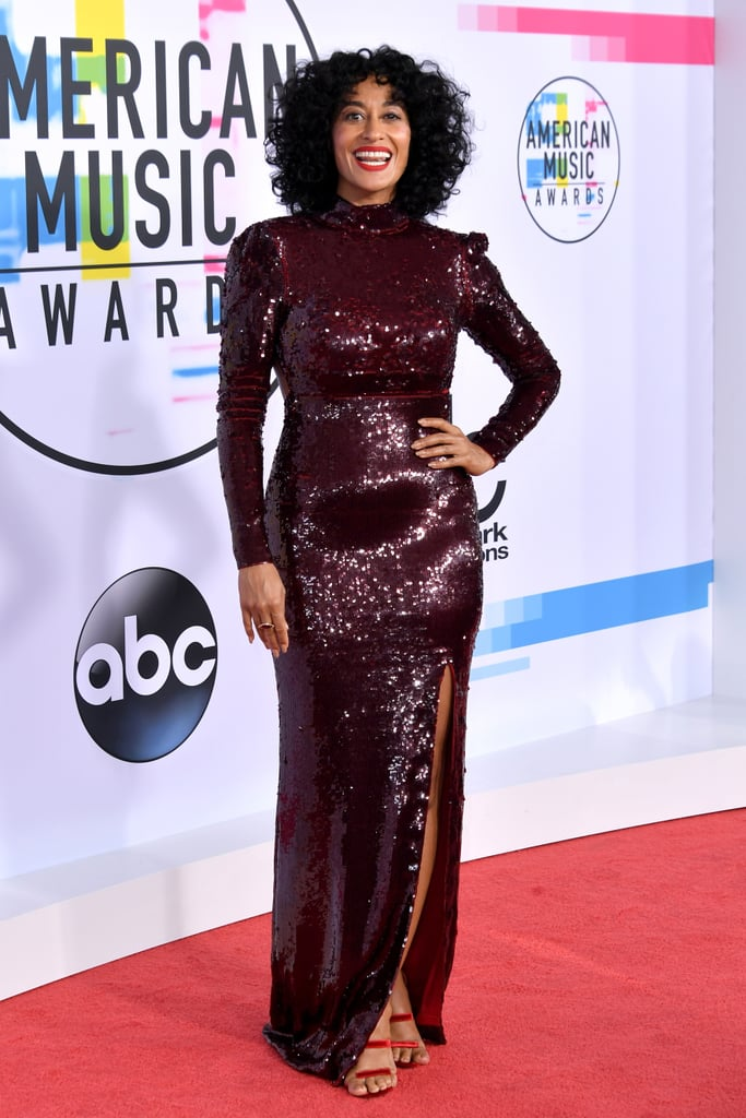 Tracee Arrived in a Full-Length Sequinned Gown