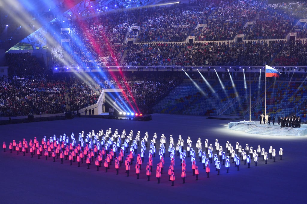 The Russian flag was presented during the opening ceremony.